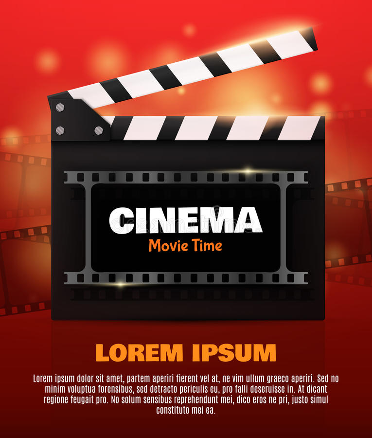 Online Cinema Background With Movie Reel . Vector Flyer Or Poster. vector illustration