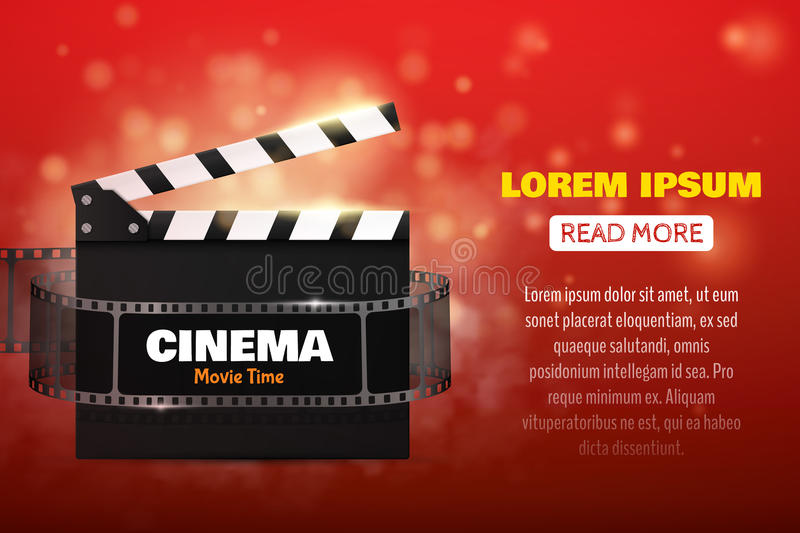 Online Cinema Background With Movie Reel . Vector Flyer Or Poster. stock illustration
