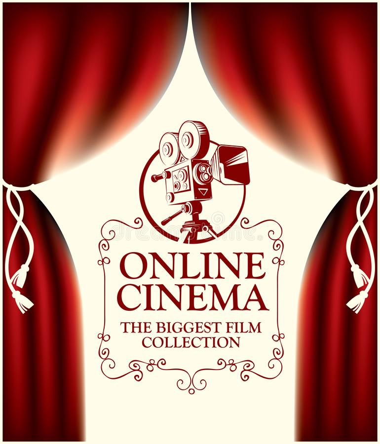 Online cinema banner with curtains and old camera vector illustration