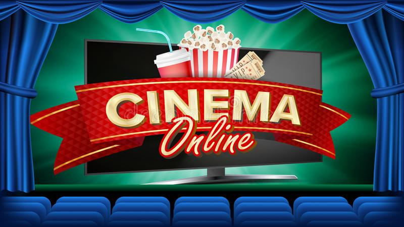 Online Cinema Banner Vector. Realistic Computer Monitor. Movie Brochure Design. Template Banner For Movie Premiere, Show. Blue Curtain. Theater. Marketing vector illustration