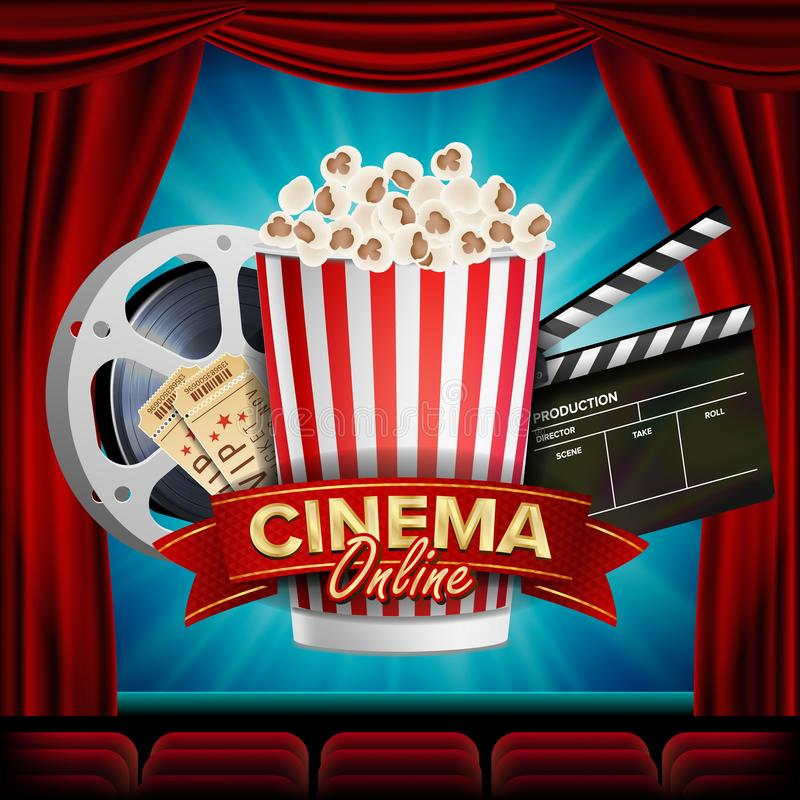 Online Cinema Banner Vector. Realistic. Film Industry Theme. Box Of Popcorn, Elements Of The Movie Theater. Theater vector illustration