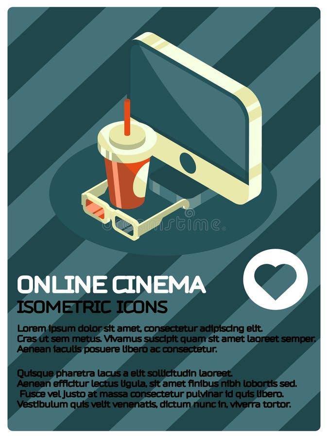Online cinema color isometric poster vector illustration