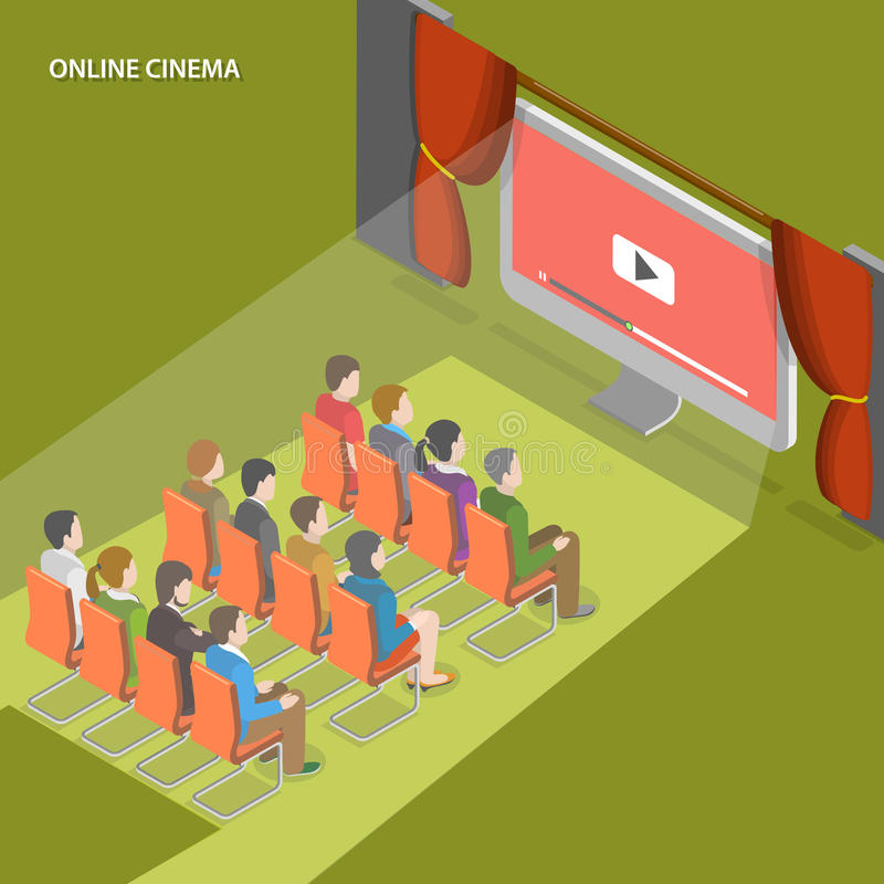 Online cinema flat isometric vector concept. stock illustration