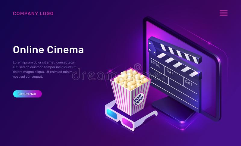 Online cinema or movie, isometric concept stock illustration