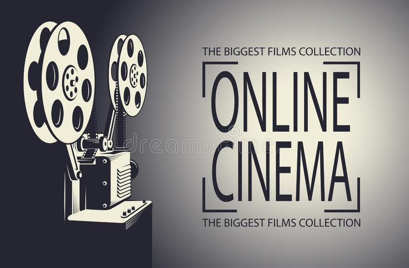 Film projector poster. Online cinema poster with retro film projector background stock illustration