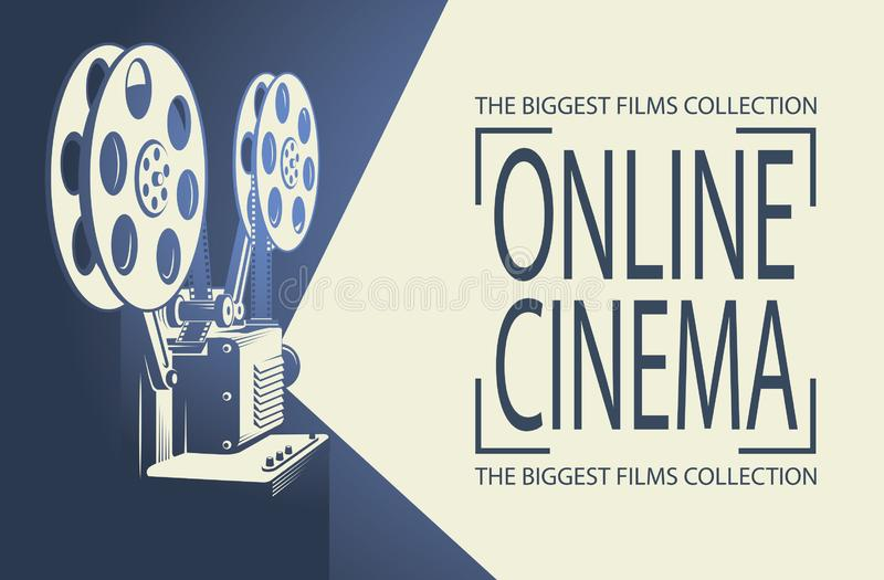 Film projector poster. Online cinema poster with retro film projector background vector illustration