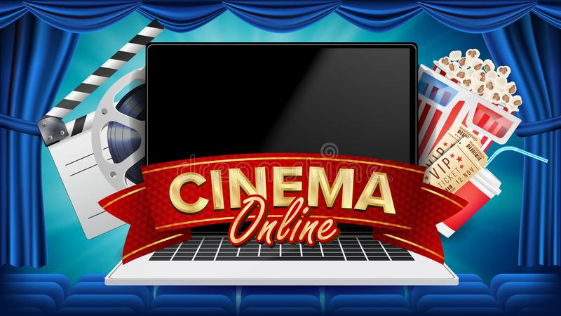Online Cinema Poster Vector. Modern Laptop Concept. Home Online Cinema. Theater Curtain. Package Full Of Jumping Popcorn. Banner, Poster Illustration royalty free illustration