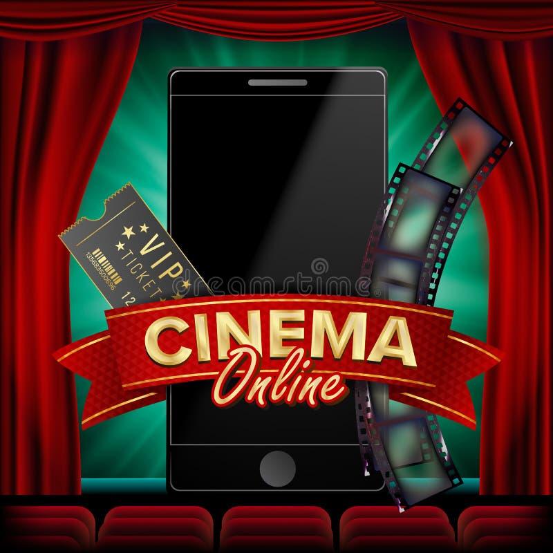 Online Cinema Poster Vector. Modern Mobile Smart Phone Concept. Good For Flyer, Banner, Marketing. Movie Reel, Clapper. Board. Theater Curtain. Marketing Banner vector illustration