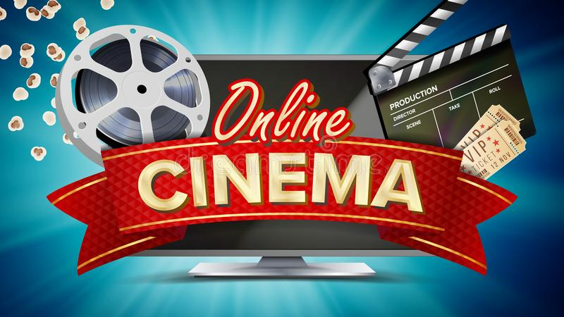 Online Cinema Vector. Banner With Computer Monitor. Popcorn, 3D Glasses, Film-strip Cinematography. Online Movie Banner. Online Cinema Poster Vector. Modern royalty free illustration