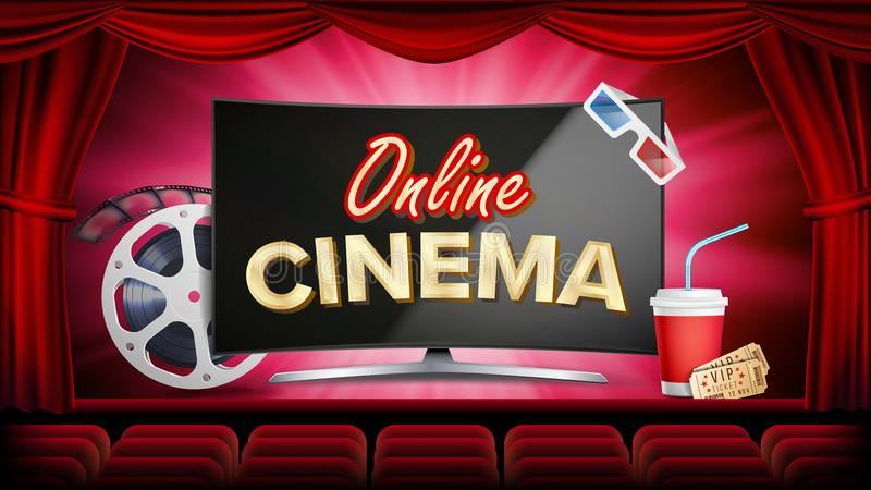 Online cinema vector. Banner with computer monitor. Red curtain. Theater, 3D glasses, film-strip cinematography. Online. Movie Banner. Illustration stock illustration