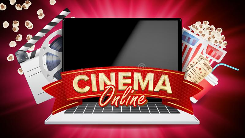 Online Cinema Vector. Banner With Laptop. Film Industry Elements. Film Tape For Cinematography. Billboard, Promo Concept. Online Cinema Poster Vector. Modern vector illustration