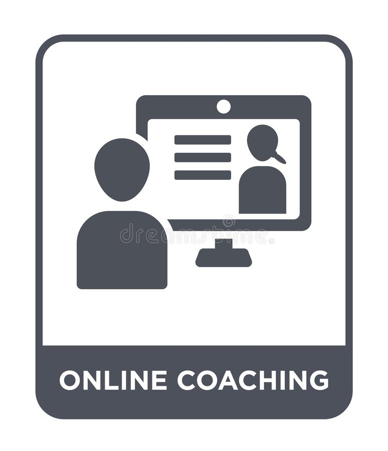Online coaching icon in trendy design style. online coaching icon isolated on white background. online coaching vector icon simple. And modern flat symbol for stock illustration