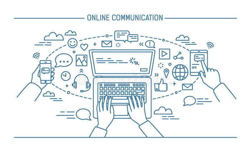 Online communicatie lineart banner gadgets, informatietechnologie, mededelingen, overseinen, praatje, media contour royalty-vrije illustratie