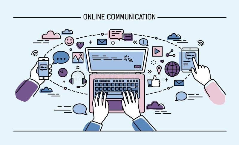 Online communicatie lineart banner gadgets, informatietechnologie, mededelingen, overseinen, praatje, media kleurrijk royalty-vrije illustratie