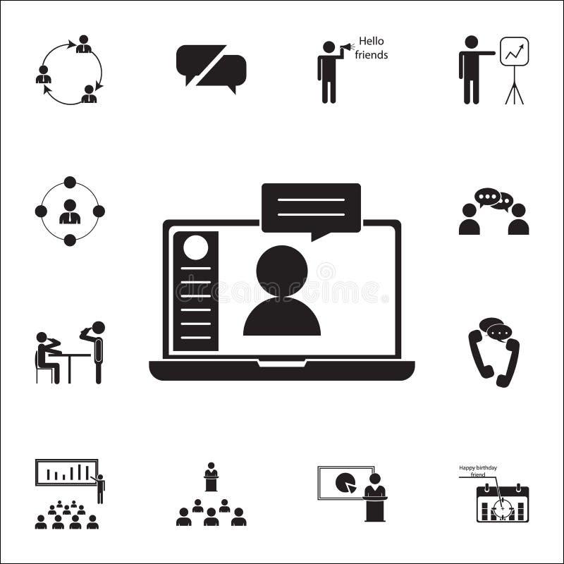online communicatie pictogram Gesprek en Vriendschaps voor Web wordt geplaatst dat en mobiel pictogrammenalgemeen begrip royalty-vrije illustratie