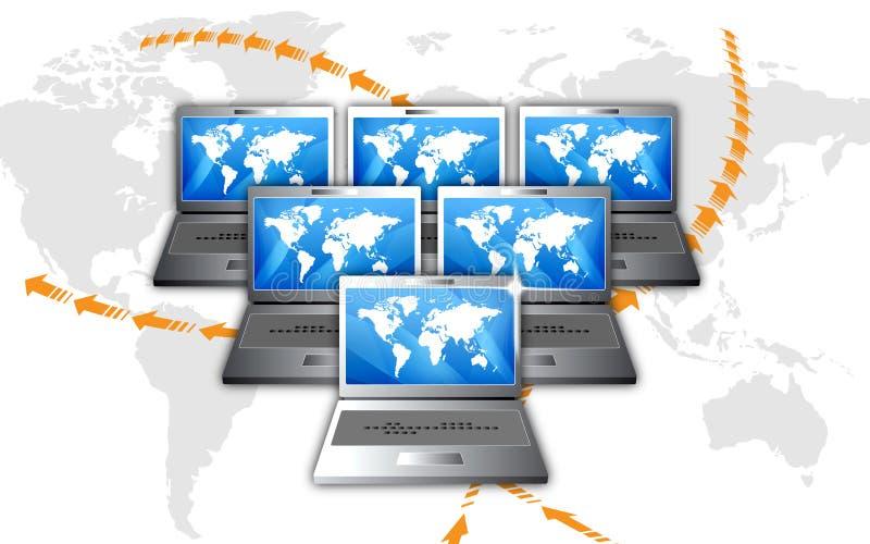 Online Communicatie van het Netwerk Laptops royalty-vrije illustratie