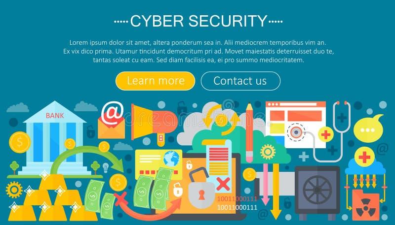 Online communicatie veiligheid, computerbescherming, cuber het malplaatjeontwerp van secutityinfographics, de elementen van de We stock illustratie
