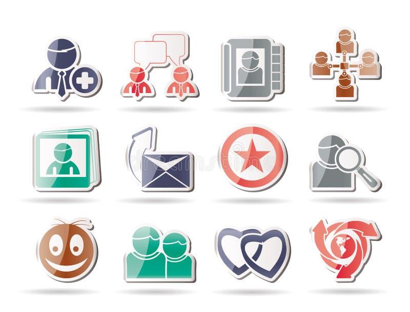 Online-Community und Sozialnetz-Ikonen lizenzfreie abbildung