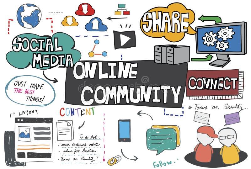 Online-Community-Vernetzungs-Verbindungs-Konzept lizenzfreie stockfotografie
