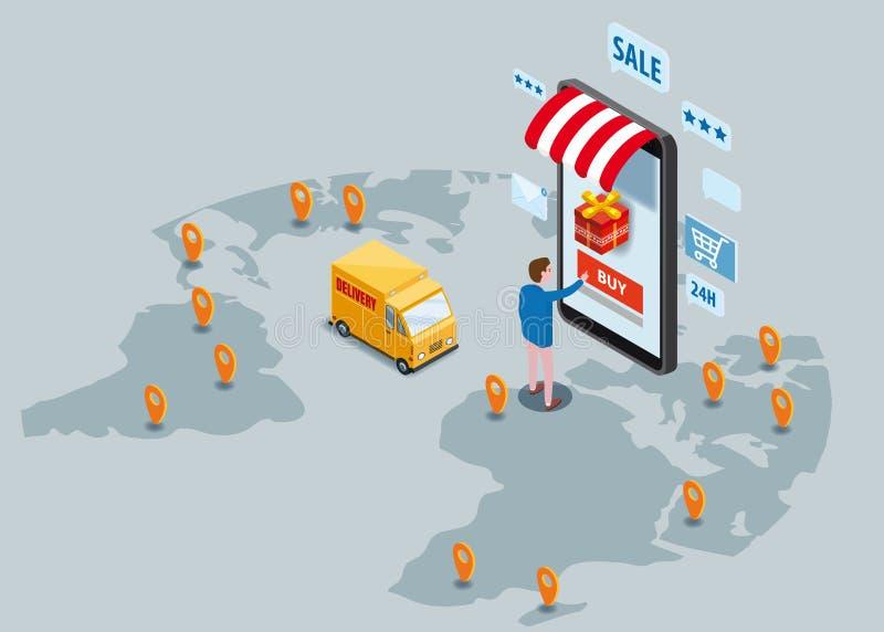 Online comperando, servizio di distribuzione precisa, servizio corriere Merci isometriche di ordini del compratore dello smartpho illustrazione di stock