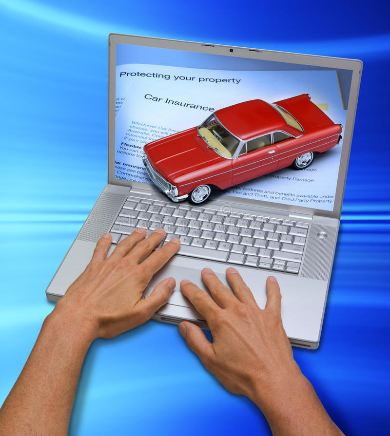 Online Computer Car Insurance. A laptop computer with hands. Coming out of the screen is a car and insurance information royalty free stock image