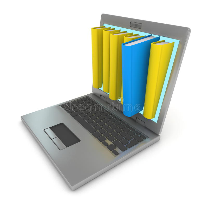 Online computer library. Hardcover books in laptop screen. Computer render royalty free illustration