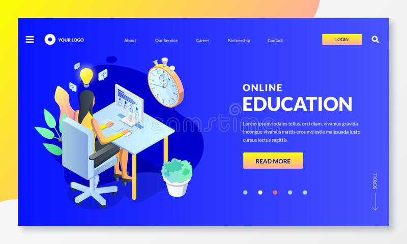Online computer quiz, exam or test concept. Vector isometric illustration. E-learning and distance education themes vector illustration