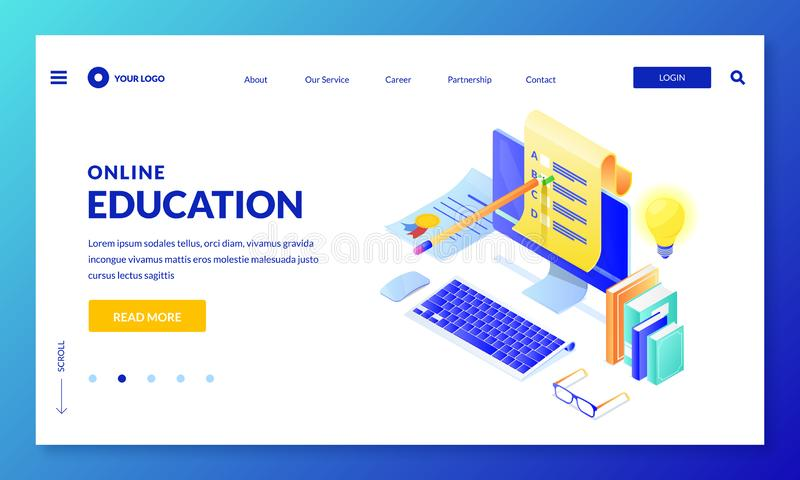 Online computer quiz. Landing page banner design. Vector 3d isometric illustration. Internet education, learning concept vector illustration