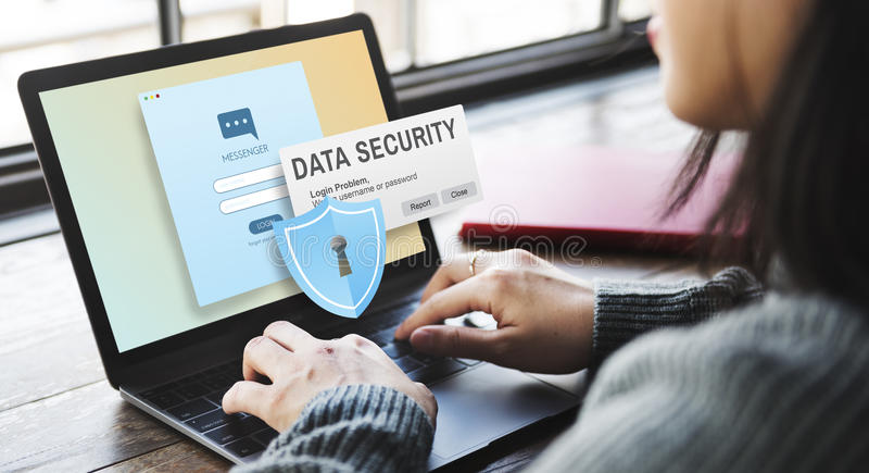 Online Concept van gegevensbeveiliging het Digitale Intenret Phishing stock afbeeldingen