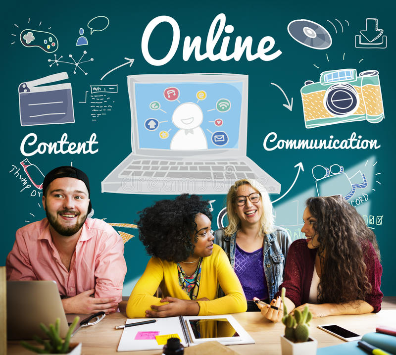 Online Connection Internet Web Social Networking Concept.  stock image
