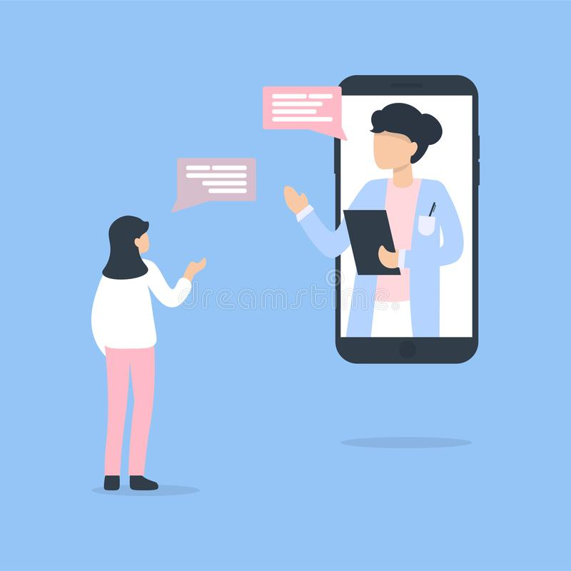 Doctor woman phone and patient woman chat online stock illustration