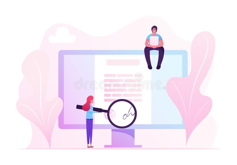 Online Contract Signing Concept. Tiny Woman Reading Document with Digital Signature on Huge Pc Screen stock illustration