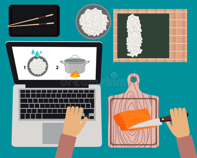 Online cooking courses. Cooking sushi maki. Online cooking courses. Vector illustration vector illustration
