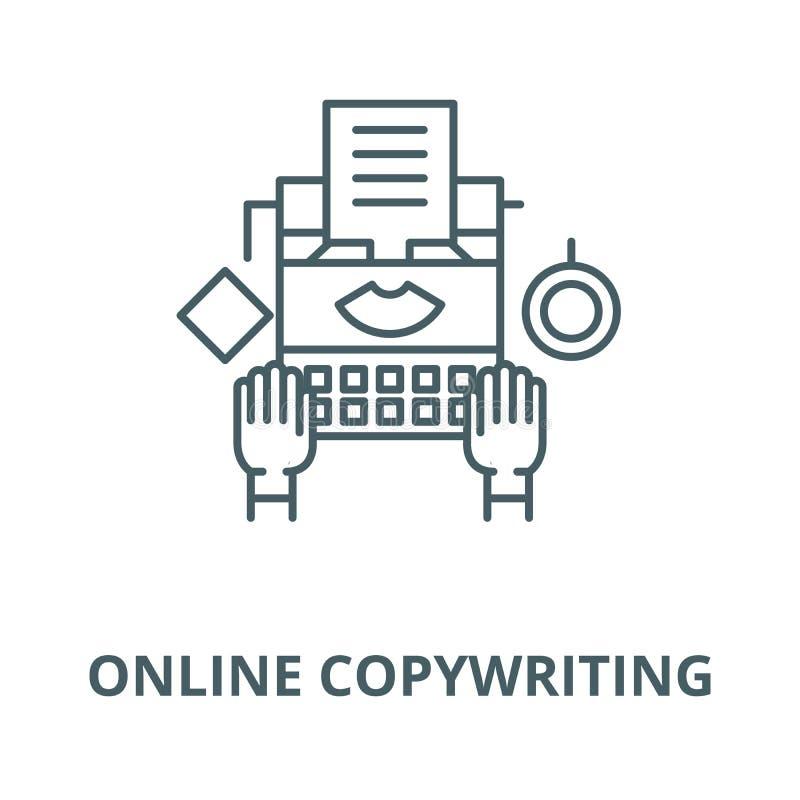 Online copywriting vectorlijnpictogram, lineair concept, overzichtsteken, symbool stock illustratie