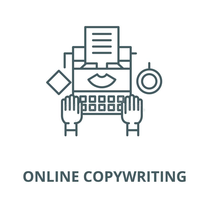 Online copywriting wektor kreskowa ikona, liniowy pojęcie, konturu znak, symbol ilustracji