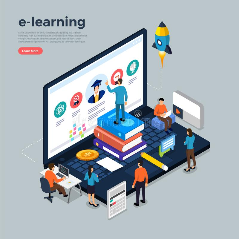 online corese onderwijs stock illustratie