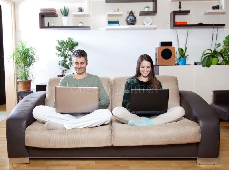 Online couple royalty free stock photos