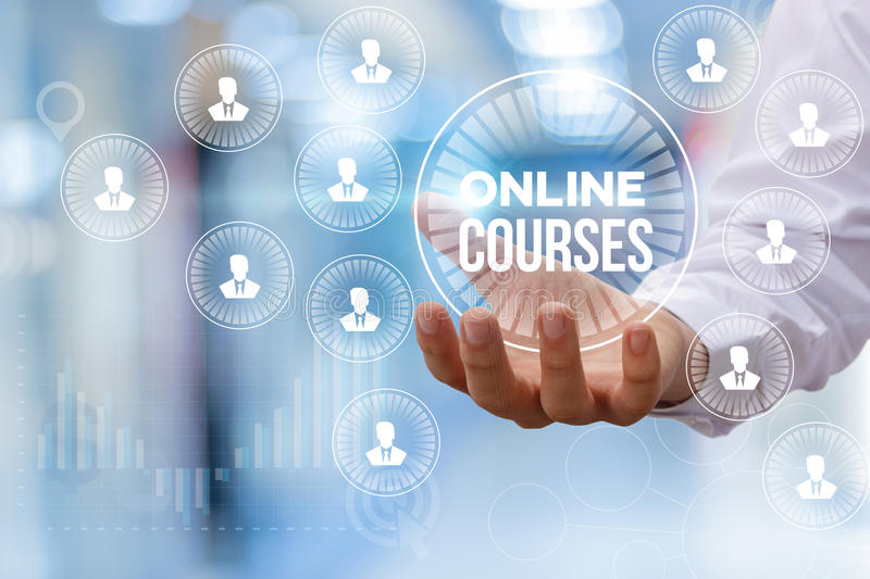 Online course in hand. royalty free stock photography