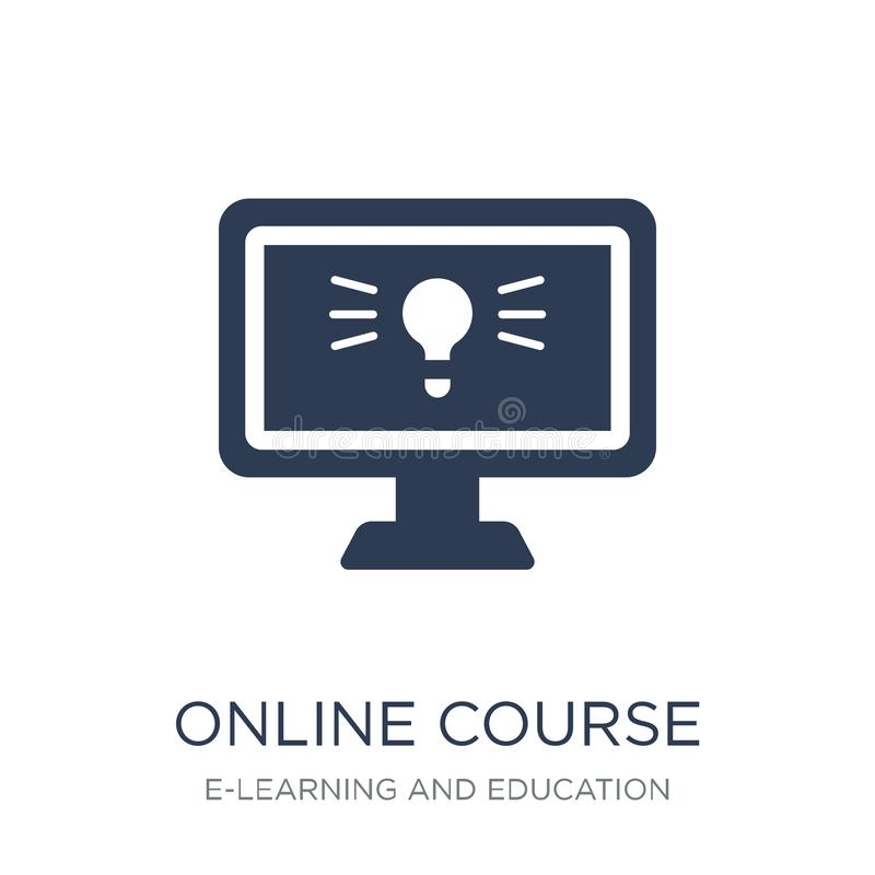 Online course icon. Trendy flat vector Online course icon on white background from E-learning and education collection. Vector illustration can be use for web stock illustration