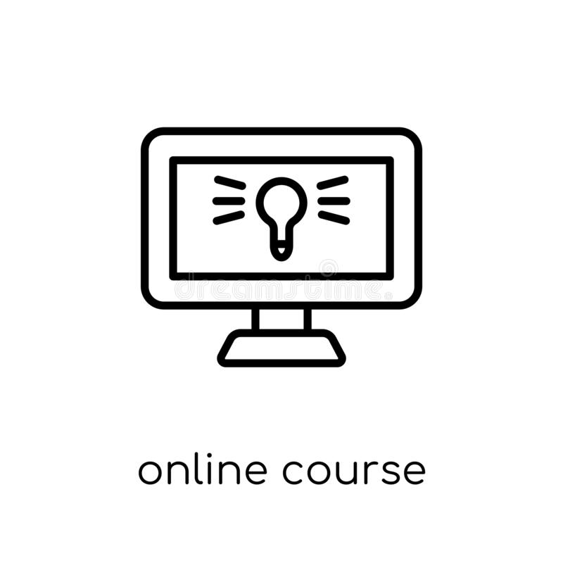 Online course icon. Trendy modern flat linear vector Online course icon on white background from thin line E-learning and stock illustration