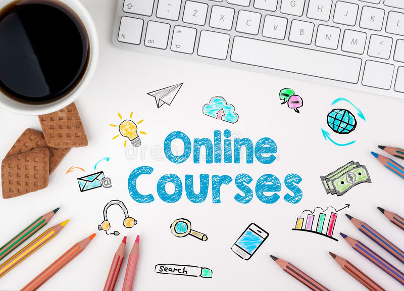 Online Courses, Business concept. White office desk.  royalty free illustration