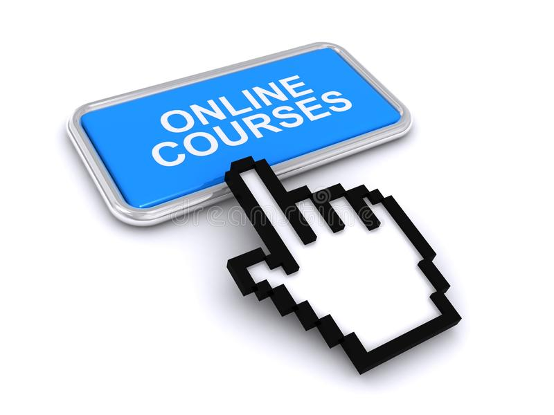 Online courses button. On white background vector illustration