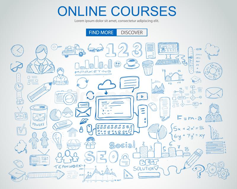 Online Courses concept with Business Doodle design style:. Online formation, webinars, elearning tips. Modern style illustration for web banners, brochure and royalty free illustration