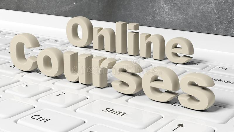 Online Courses 3D text on laptop keyboard. With blackboard on screen stock illustration