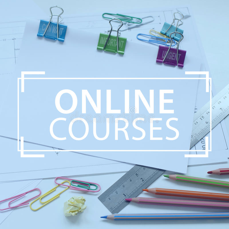 Online courses e-learning stock photography