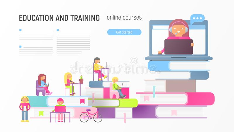 Online Courses. Education and Training Advertising Web Page for Online Courses, Tutorials, E-learning, Mobile App Templates. Small Size Cartoon People and Online stock illustration