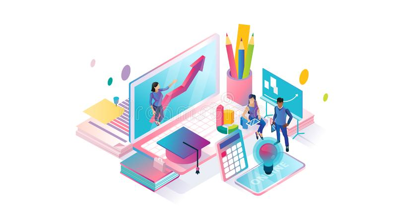 Online courses isometric cyberspace and tiny persons concept illustration. vector illustration