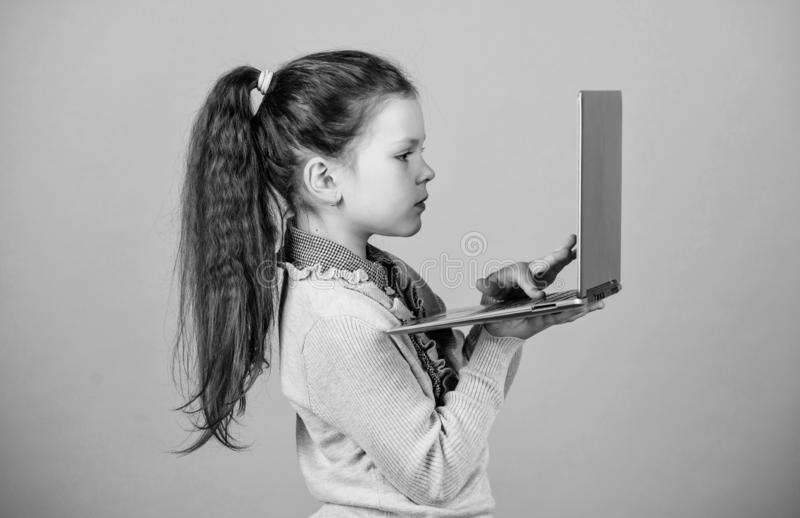 Online courses private teaching. child development in digital age. Weblog in virtual world. online shopping blog. Business digital marketing. happy small girl royalty free stock image