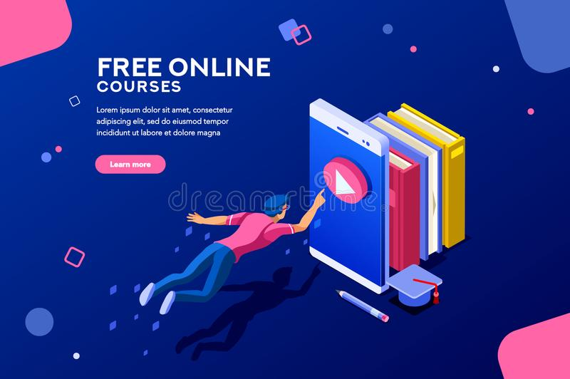 Online Courses Web Page Banner. Tutorial infographic, graduation, e-learning research, university exam, college research, online courses concept. Character stock illustration