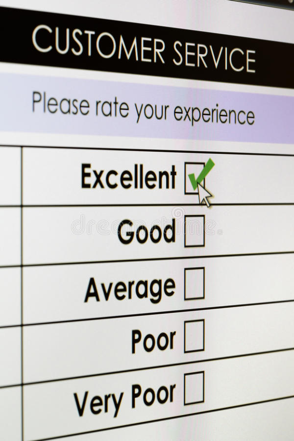 Online customer service satisfaction survey royalty free stock images
